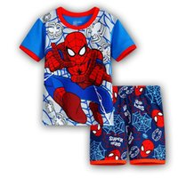 Wholesale 2016 kids superhero cartoon cotton pajamas boys girls superman ironman spiderman batman home wear suit pajama pyjamas