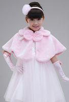 Wholesale Children dress skirt cape plush flower girls girl white shawl autumn and winter jacket