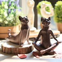 Wholesale Creative Household Adornment Yoga Cat Sitting Room Desktop Furnishing Articles a Birthday Present Festival Gifts Yoga Decoration Free
