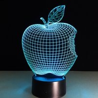 apple fruit battery - 2016 Apple D Optical Illusion Lamp Night Light DC V USB Charging AA Battery Dropshipping