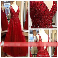 beautiful art deco - Elie Saab Prom Dresses Red Tulle Beautiful Luxury Beading Sequined Bodice Sexy V Neck Long Maxi Bridal Evening Gowns Formal Wear