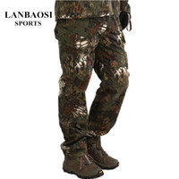 Wholesale LANBAOSI Military Tactical Camo Hunting Pants Set for Men Python Camouflage Waterproof Softshell Outdoor Sports Hiking Trousers