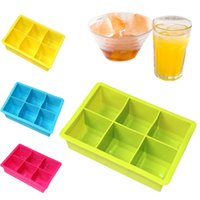 Wholesale 6 Ice Cube Grids Silicone Ice Trays Cubed Ice Maker Large Cube Square Tray Mold KDB_00V