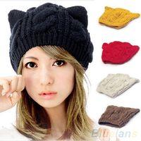 Wholesale Women s Winter Knit Crochet Braided Cat Ears Beret Beanie Ski Knitted Hat Cap L