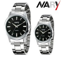 Wholesale Luxury Watch Couples - NARY New 2016 Hot Sale High-quality Couples Luminous Watch Automatic Quartz Stainless Steel Watch Luxury Wristwatch(6090)