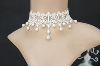 beauty pearls - Gothic Fairy Pure Beauty White Lace Pearl Necklace Bride Dress False Collar Necklaces Jewelry Chain Clavicle