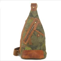 Wholesale Canvas Chest Bags Outdoor Bag Camouflage Men and Women Package Patchwork Leather Shoulder Bag Factory Price