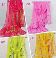 beach colors paint - 2014 Fashion Chiffon Scarfs Sarongs Classical Ink Painting Pattern Beach Towel Printed Scarves Colors
