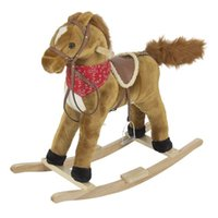 Wholesale Rocking Horse Plush Brown With Sound toy Boys Rocking Horse Solid Construction