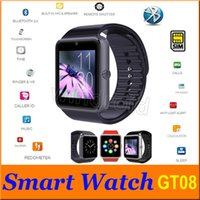 Wholesale Cheapest Iphone Box - GT08 Bluetooth Smartwatch Smart Watch for iPhone IOS Samsung Galaxy Android Smartphone Pedometer Sleep Monitoring NFC Reatil box 10pcs cheap