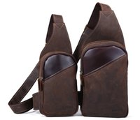 Wholesale Vintage Nubuck Genuine Leather Men Chest Pack Crossbody Bag Sling Backpack Two Size