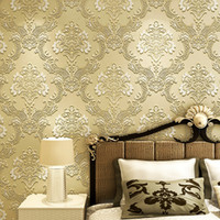 Wholesale European Style Non woven Wallpaper Classic Wall Paper Roll Relief Floral Wallcovering D Luxury Floral Wallpaper Colors mx0 m