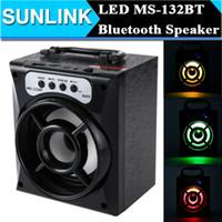 MS-132BT Lumière LED Big Portable Bluetooth Haut-parleur sans fil Subwoofer puissant Musique en plein air jouant Box USB TF Radio FM Haut-parleur
