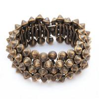 bezel stud - Gothic Punk Rock Studs Spike Rivets Shaped Stretch Bracelets For Women Silver Nickel Bronze For Choosing