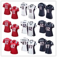 active red - Women Stitched Patriots Tom Brady Rob Gronkowski Julian Edelman White BLue Red Jerseys cheap rugby t shirts Size S XL