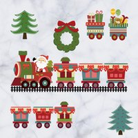 Wholesale Cartoon Santa Claus gift train Christmas DIY Generic Decal Wall Sticker Kids Room Decor Mural living room vinyl Inspiration art