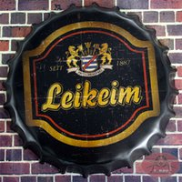 beer bootle - Leikeim German Beer Vintage Round Beer signs Bootle Cap Tin Signs With Striking Bar Pub Restaurant Man Cave cm RM