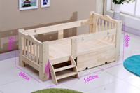 Wholesale new popular desigh Wooden children bed baby cot with guardrail elegant conforable fashion simple saveguardrail conforable