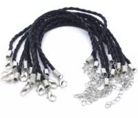 Wholesale 10pcs mm Black Leather Bracelet Cord Fit Charm Beads quot Leather bracelet