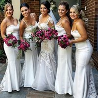 Cheap White Vintage Lace Mermaid Bridesmaid Dresses Spaghetti Straps Sweetheart Corset Bodice Long Bridal Gown For Weddings 2016 Fast Shipping