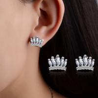 poste de boucles d'oreilles pour les femmes filles impériale de bijoux de mode couronne griffes zircon cheval oeil oreille tendance stud sans nickel