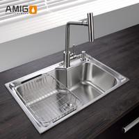 Wholesale Amigo SUS304 imitation hand working sink big capacity generous decency flexible wire processing surface smooth