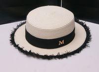 Cheap New Maison Michel White Straw Fedora Hats Short Brim Flat Top Letter M Jazz Beach Sun Trilby Bowler Hats For Women Chapeu Feminino