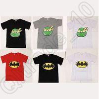 Wholesale 60pcs CCA4190 High Quality Style Superhero Boy T shirt Baby Clothes Cartoon Donut Spiderman Batman Nanja Turtle T shirts Cotton Tops Tees