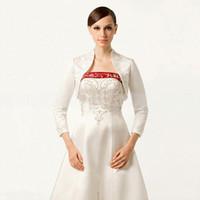 beaded bolero - Latest Vintage Style Wedding Jacket With Embroidery Beaded Long Sleeve Bolero With Stading Collar Custom Made Cheap Bridal Wraps