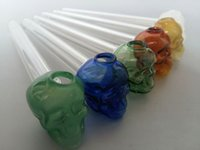 Wholesale glass pipes skull Glass Oil Burners Pipes with Different Colored quot inch Lenght Water Pipe smoking pipes