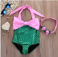 Wholesale Girl mermaid one piece bikini swimsuits Kids COSPLAY halter swimwear with fish scale bottom Children swimming suits with headband colors