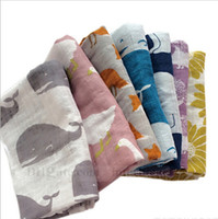 Wholesale Baby INS Bibs Aden Anais Swaddle Cartoon Animal Cotton Bibs Muslin Bath Towel Bamboo Anais Burp Cloths Bib Aprons Saliva Towel Headband B690