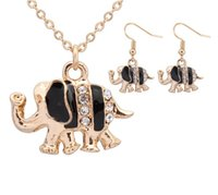 asian paint colors - Necklaces Earrings Sets Fashion Women Rhinestone Colors Painted Gold Plated Alloy Elephant Piece Jewelry Sets TJS007