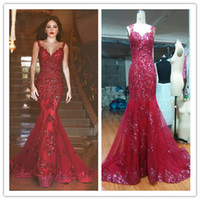 Wholesale Arabic Burgundy Mermaid Prom Dresses Sexy Sheer Back Long Pageant Gowns Dark Red Sequins Lace Appliques Evening Gowns MH039