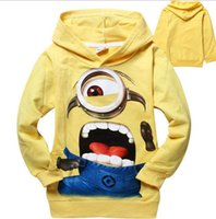 Wholesale Cheap Childrens Clothes Wholesale - Cheap 2016 Me Minions Clothes Childrens Hoodies 2 Colors Yellow Blue High Quality Baby Sweatshirts Coats Spring Autumn Kids Clothing 1552