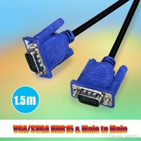 Wholesale 100 Top Quality Hot Blue FT M PIN SVGA HDB15 SUPER VGA M M Male To Male Connector Cable Cord Extension Monitor FOR PC TV