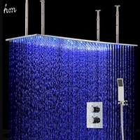 bathroom shower diverter - 500 mm Large Size Big Rainfall Shower Head With Thermostat Shower Diverter Bathroom LED Shower Head Set