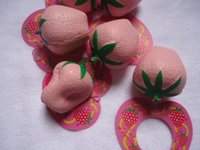 Wholesale cm slow rising pink color strawberry squishy with tags