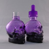 Wholesale 30ml Purple Dropper bottle e liquid glass dropper bottle Perfume bottle with Security pressure cap E Skull Liquid Bottle by DHL for sale