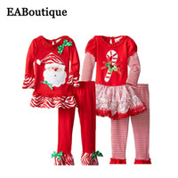 bell bottom costumes - Kids Girls New Fashion Christmas costume Beautiful mesh ruffle long sleeve T shirt with bell bottom trousers piece set