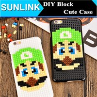 Minion mario Pas Cher-3D DIY Building Block Case Funny Cartoon Mario Minions Game Player diy Cover Hard PC Shell pour iPhone 7 Plus 6s 6 Plus Christmas Gift