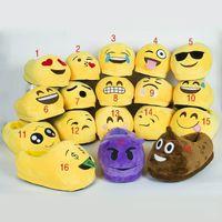 Wholesale 18 styles Emoji Plush Slipper Shoes Emoji Full heel Soft Warm Household Winter Slippers for women and man cm