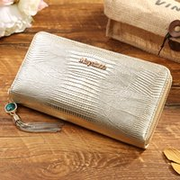 big closure handbag - Famous brand patent genuine leather zipper closure women fashion wallet big space phone pocket ladies cow leather wallet handbag