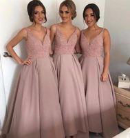 bead dust - Satin Dust Pink Little Beaded Bodice A Line Bridesmaid Dresses With Straps Deep V neck Sexy Vestido De Novia Bridesmaids Gown