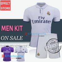 uniform shirts - Real Madrid kits soccer jersey uniform home away men sets Maillot de foot Ronaldo james bale benzema kroos modric football shirts