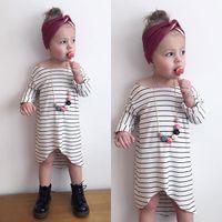 baby undershirts white - newborn girls dress Autumn Dresses INS Baby Girls Stripes Dress Princess Leisure Long Sleeve Undershirt Children Kids Dress Clothing