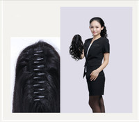 human hair ponytail - Human Natural Hair Ponytails Long Curly Claw Clips Hair Ponytai Woman Big Pony tails