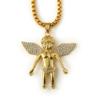 angels rocks - Sale Punk Rock Rap Micro Mens Flying Winged Angel Piece Pendant Necklaces Fashion Hip Hop Jewelry k Gold Plated Long Chain Necklaces