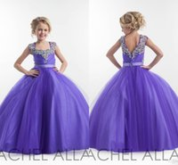 beaded cup - 2016 Cup cake Lavender Girls Dresses For Weddings With Crystals Beaded Ruched Tulle Rachel Allan Little Kids Pageant Gowns BA0250