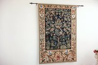 Wholesale Large Blue Tree of Life by William Morris Art Tapestry Wall Hanging Home Decor Gift Cotton Jacquard Woven x cm
